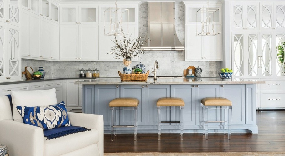 Add Your Color And Style To Monochromatic Kitchen